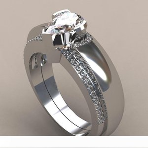 New 2pcs set Waterdrop Wedding Set Pear Cut Cubic Zironia Micro Pave Engagement Ring for Woman
