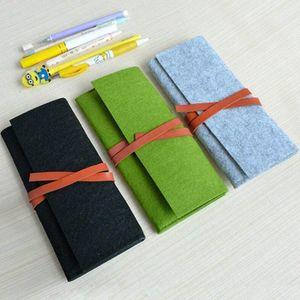 Minimalist Felt Pencil Bag Pure Color Fabric Pen Curtain Pencil Cases School Supplies Student Office Stationery Pouch Kids Pencil Box Wtet#