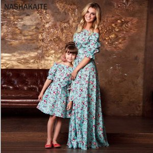 NASHAKAITE Mother daughter dresses Half Puff Sleeve Ruffled Floral Long Dress with Belt Family Look Mommy and me clothes CX200714