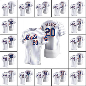 New YorkMets #20 Pete Alonso 48 Jacob deGrom 0 Marcus Stroman 6 Jeff McNeil Men Women Youth Custom White 2020 Authentic Jersey