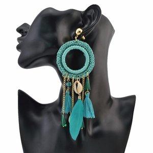 Gypsy Ethnic Boho Big Woven Rope Long Feather Drop Earrings Fringe Thread Shell Tassel Earring Turkish Party Festival Jewelry