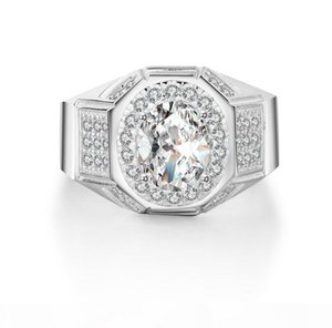 D D 2017 New Arrival Luxury Jewelry 925 Sterling Silver Ovial Pave White Topaz Gemstones Cz Diammon Men Ring For Lover &#039 ;S Gift Si