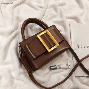 European Vintage Belt Fashion Small Tote Bag 2020 New Quality Pu Leather Womens Brand Designer Handbag Shoulder Messenger Bags