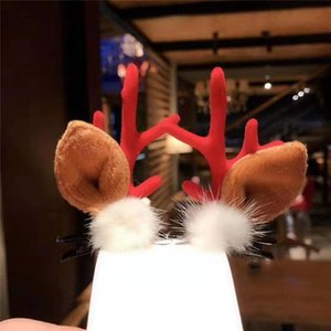 New Christmas Novelty Funny Personality Antler Hair Ball Hairpin Christmas Women's Girls and Children's Hair Accessories