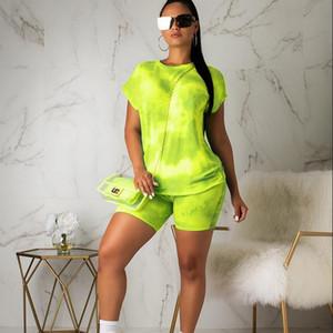 الصيف النسائية 2 قطعة مجموعة أزياء التعادل صبغ تتسابق رياضية بذلات عرق ملابس قصيرة الأكمام الأعلى سراويل النساء ملابس رياضية