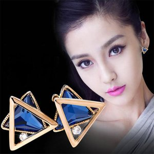 Hot Fashion 925 sterling silver ear pin Vintage Long triangle Earring Big Geometric Stud Earrings For Women Classic Gold-Color Fine Jewelry