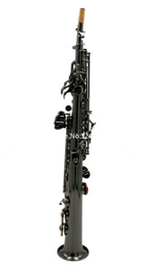 New Arrival Straight Soprano Saxophone B Flat ful shiny black Brass Musical instrument With Case gloves Free Shipping