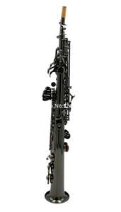 케이스 장갑 무료 배송 새로운 도착 스트레이트 소프라노 색소폰 B 플랫 FUL 빛나는 검은 금관 악기