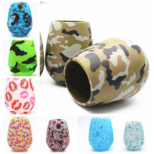 Silicone Wine Cup Antiskid Drop High Grade Red wine Glass Water Bottle Camouflage Skull Bubble Water Lips Beer Whiskey Wine Glasses LSK219