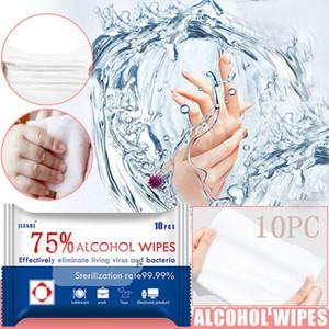 75% di alcol salviettine umidificate Wipe portatile Tissue disinfezione dipe 10pcs Viaggi antisettico Cleanser sterilizzazione monouso Wet