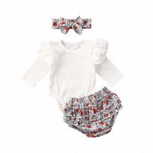 0-24M Newborn Infant Baby Girls Boys Clothes Sets Flowers Print White Long Sleeve Romper Tops+Shorts Headband Lo8q#