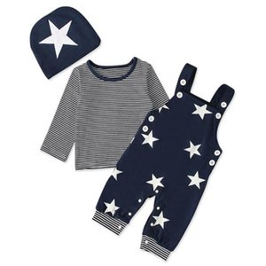 Halilo Roupa do bebé Set listrada manga comprida shirt da estrela impressão Calças Chapéus 3 Pieces Vestuário Infantil Moda Bebê Outfits Boy