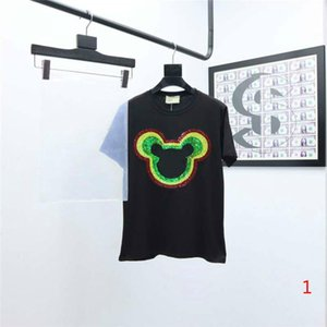 2020 New Women T Shirts Fashion Tees Letters Sequins Short Sleeves Animal Patterns Style Tops Girls Streetwear Tees Clothing