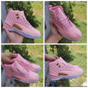 New 12 Jumpman Pink Women Basketball Shoes Girls 12s Valentines Day Trainers Sports Sneakers Size 36-40