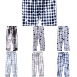 verano KTolB hombres tejidos pantalones largos abiertos pijamas de algodón Aire acondicionado pantalones y pantalones de tela de algodón más de air delgada de los hombres de grasa
