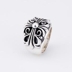 S925 Серебряное кольцо личности ювелирные изделия ретро хип-хоп стиле панк крест цветок пара подарок для друзей