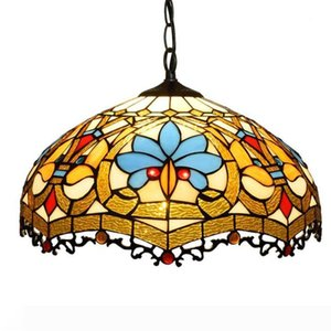 Tiffany Pendant Lamp 16 Inch Pull Chain Blue Orange Dragonfly Stained Glass Crystal Bead Lampshade Anqitue Style Hanging Light