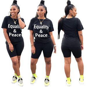 Letter Black Summer Womens Tracksuits EQUALITY PEACE Casual Crew Neck Top Womens Designer 2PCS Slim Streetwear Womens 2 Piece Outfits