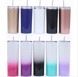 Skinny Tumbler Straight Cup Stainless Steel Tumblers Rainbow Starry Car Cups Vacuum Insulated Water Bottles Outdoor Travel Water Cup BLSK176