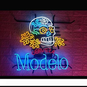 OERVEZA 포 모델로 해골 로고 네온 사인 라이트 맥주 바, 펍 벽 포스터 수제 예술 Visual16