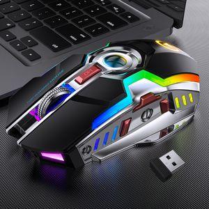 Souris de jeu sans fil Rechargeable LED Silent LED Souris de la souris USB Optique Opticale ergonomique 7 clés RVB Backlit pour ordinateur portable