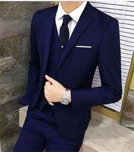 Slim Fit Mens Fashion Designer Three Piece Business Suit Stand Collar Long Sleeve Single Button Solid Color Homme Clothing