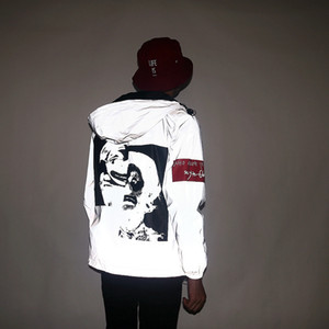 yansıtıcı ceket gündelik hip hop Kapşonlu Coats streetwear gece parlak harajuku ceketler 3M rüzgarlık Yeni erkek sonbahar Erkek / kadın