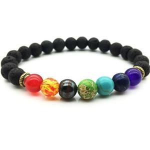 Fashion New Natural Black Lava Stone Bracelets 7 Reiki Chakra Healing Balance Beads Bracelet for Men Women Stretch Yoga Jewelry