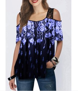 2020 explosions women's lace printed short sleeve loose T-shirt women's blouse