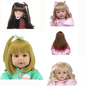 NPK de poupée reborn enfant en bas âge sticked perruque de cheveux 23inch Nuisettes réaliste en silicone Réincarné perruque de cheveux bricolage Poupée Accessoires CX200715