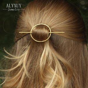 ALYXUY Yeni Moda Basit Yuvarlak Kuyumcu tokalar Kadınlar Kızlar Metal Çember Saç Klipler Düğün Saç Aksesuarları H408