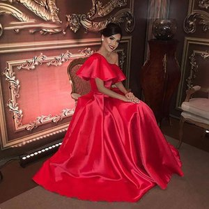 Simple Cheap Long Satin Prom Dresses One Shoulder A Line Evening Gowns Plus Size Formal Party Women Dress 2021