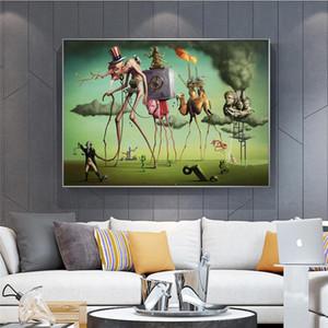 """Salvador Dali """"el sueño americano"""" Pinturas de lona abstractos arte de la pared de imagen para la sala de estar Decoración para el Hogar (No Frame)"""