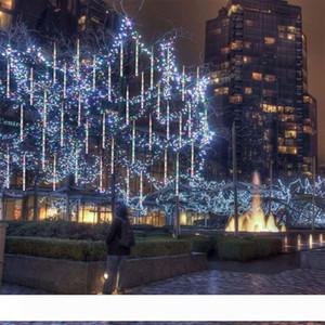 LED Meteor Chuva Luz, Outdoor Luz String, impermeável Jardim luz 30 centímetros 8 Tubo do floco de neve gelo caindo sincelo empilhamento Luzes