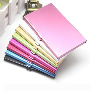 Business Name Credit ID Card Case Aluminum Alloy Business Card Holder Card Files 9 Color W8527