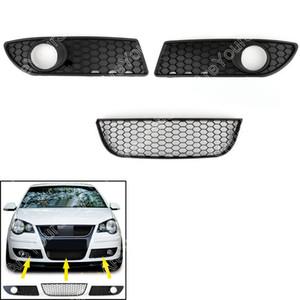 AreYourshop Araba Petek Stil Ön Alt Izgara Sol / Sağ Yan Fit VW Polo 9N3 GTI 2005-2009 Siyah Araba Oto Aksesuarları Parçaları