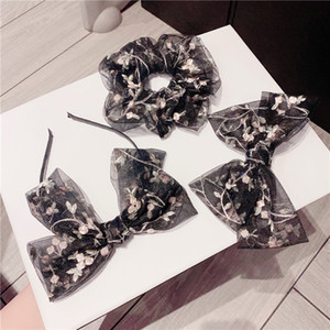 Embroidery Flower Hair Band Lace Hair Ring Bow Hair Hoop Lace Designer Headbands Large Intestine Ring Spring Clip
