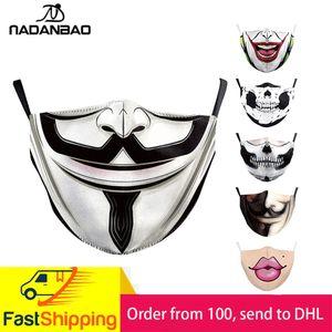 Máscaras adulto boca grande 3D Impreso cara de la tela Máscaras La Casa de Papel cráneo reutilizables lavables Máscara Prueba
