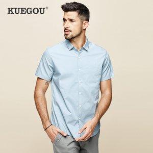 KUEGOU 2020 Verão Cotton Camisa branca lisa Homens Dress Casual Slim Fit manga curta Streetwear por Homem roupas casuais Marca 8816