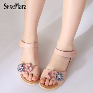 Flower Sandals for Girls 2018 Chilren's Shoes Girl Princess Dresses Party Sandal New Cute Kids Summer Beach Shoes Crystal B03131 Y200619