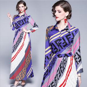 Vestidos de pista 2019 Vintage Animal Imprimir vestidos de alta calidad del partido de las mujeres del cuello diseñador vestido maxi largo Vestidps Robe Femme