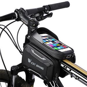 Bolsa de bicicletas Bolsas de alta calidad del marco de MTB montañas Camino delantera de la bici de ciclo del bolso impermeable de la pantalla táctil Accesorios Tubo superior del teléfono