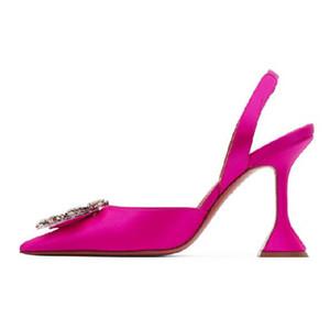 Tacchi Donna Sandali Italia raso di colore rosa Begum Sling Scarpe a punta pompa i pattini Tallone di cristallo slingback cinghia Sculptural