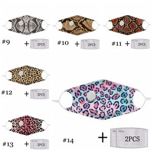 Leopard Print Fashion Masks Plable Filter PM2.5 Dust-proof And Anti-haze Protective Mask Breathing Valve Reusable Face Masks EEA1861