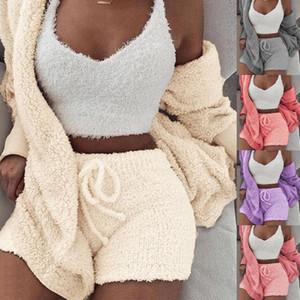 Womens peluche di inverno i vestiti degli insiemi casual sportivo solido cappotto Giacca a maniche lunghe con cappuccio sexy Shorts Set di 3 pezzi Outfits