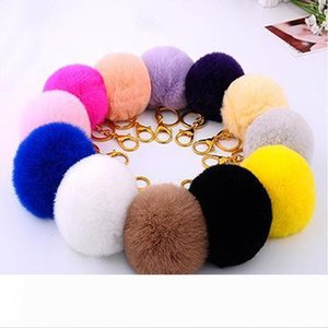 DHL FREE 50PCS lovely 8CM Genuine Leather Rabbit fur ball plush key chain for car key ring Bag Pendant car keychain