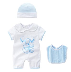 New Baby Rompers Clothing Sets Toddler Short Sleeve Rompers+Hat+Bib 3pcs Set Kids Jumpsuits Infant Onesies Newborn One-Piece 0-24Months