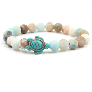 Natural stone tortoise bracelet sea turtle charm Agate Tiger eye turquoise Stone beads bracelets women mens bracelets will and sandy jewelry