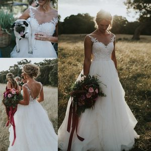 Country Style Wedding Dresses Scoop Neck Illusion Vintage Lace Appliques A-line Plus Size bohemian Open Back Bridal Gowns