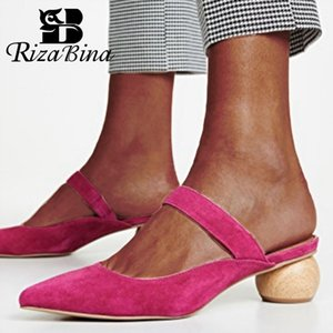 RIZABINA Summer Women Slippers Pointed Toe Flock Strange Heel Sexy Slingback Sandals Shoes Women Ladies Footwear Size 34-43 Y200624